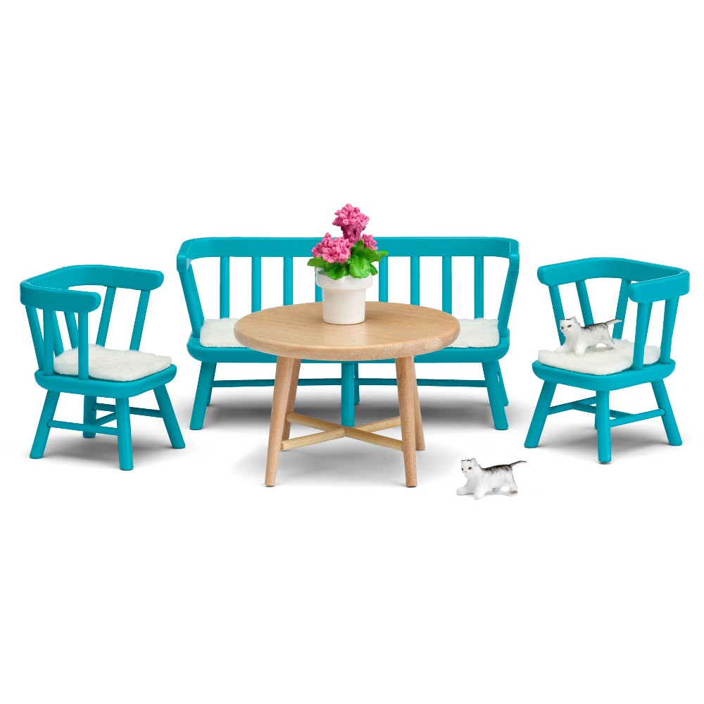 Lundby Kitchen Furniture, Doll Furniture Add the Lundby Smaland Kitchen Furniture Set to your doll's house, and invite your dolls to breakfast or a casual meal. Give your kitchen a fresh, trendy look with this brightly colored bench sofa, 2 matching chairs and round, natural wood table. Complete the look with additional accessories (included): 3 cushions, 2 kittens and a potted geranium. Decorate every room in your Lundby Smaland Doll's House with our realistic 1:18 scale furnishings and accessories (sold separately). Lundby doll's house, doll's house extension, dolls, additional furnishings, accessories, and power supply available for separate purchase