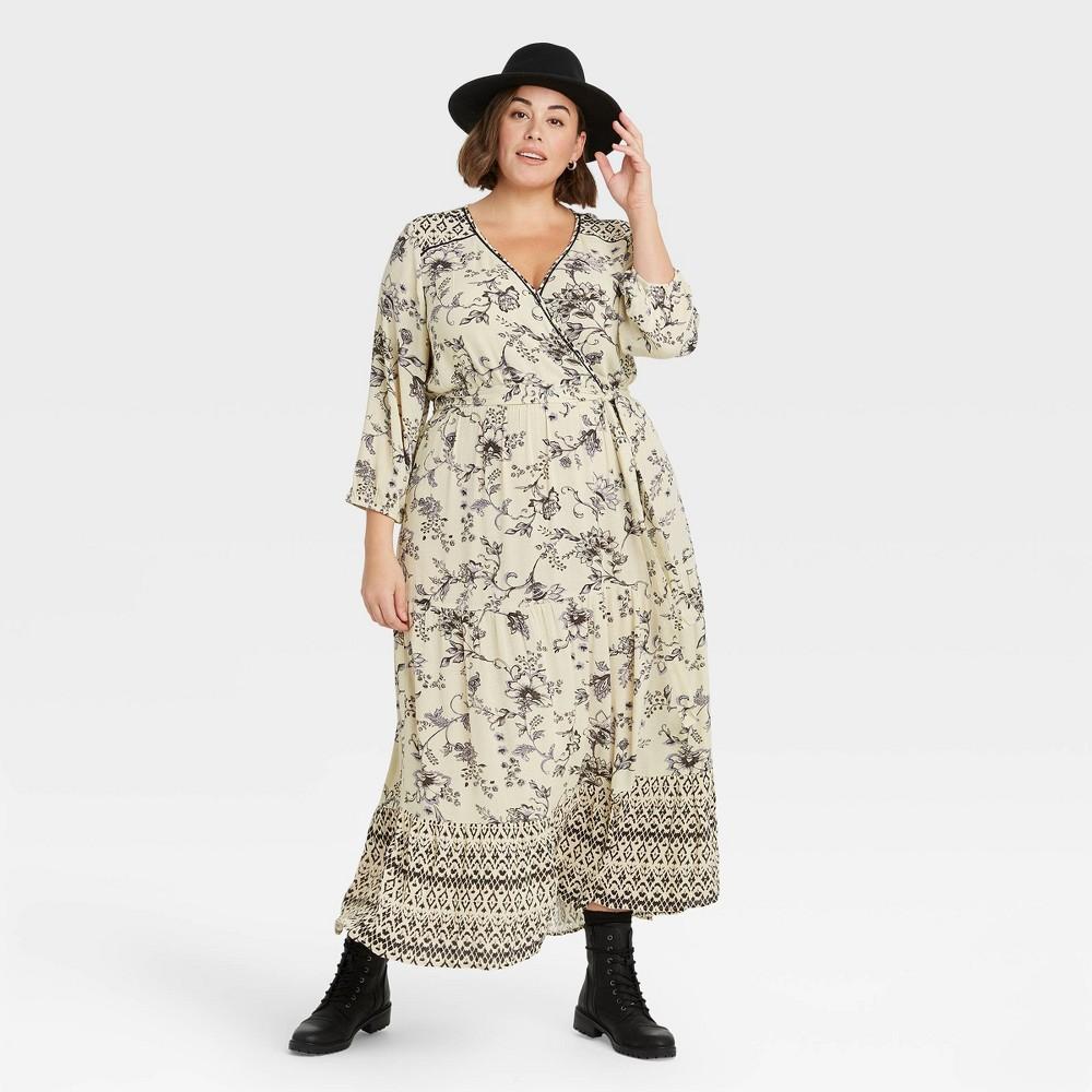 70s Dresses – Disco Dress, Hippie Dress, Wrap Dress Womens Plus Size Floral Print Long Sleeve Wrap Dress - Knox Rose BlackWhite 4X $34.99 AT vintagedancer.com