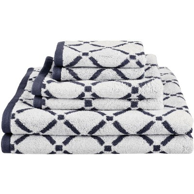 Plush and Absorbent Cotton Oversized 6-Piece Geometric Diamond Assorted Bath Hand Face Towel Set - Blue Nile Mills