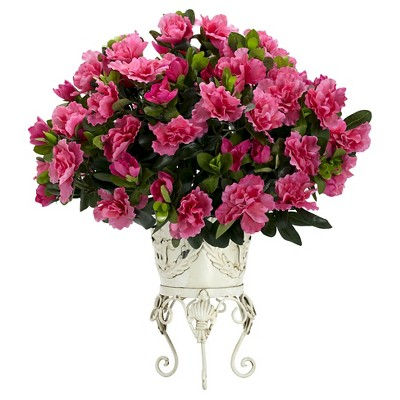 Nearly Natural Azalea with Metal Planter Silk Plant Pink