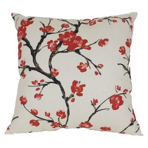 Beige Red Flowering Branch Floor Throw Pillow 24 5 X24 5 Pillow Perfect Target