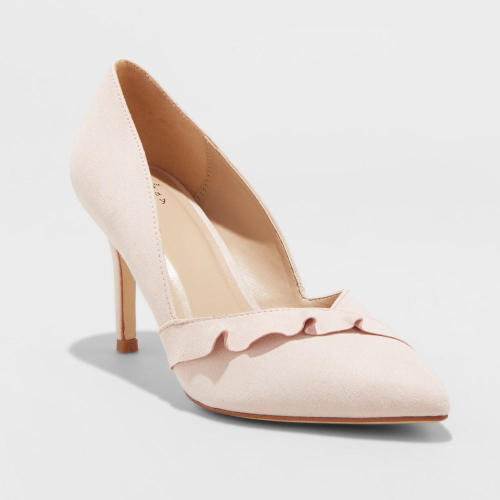 Women's Elisabeth Wide Width Ruffle Heel Pumps - A New Day Blush 11W, Size: 11 Wide, Pink
