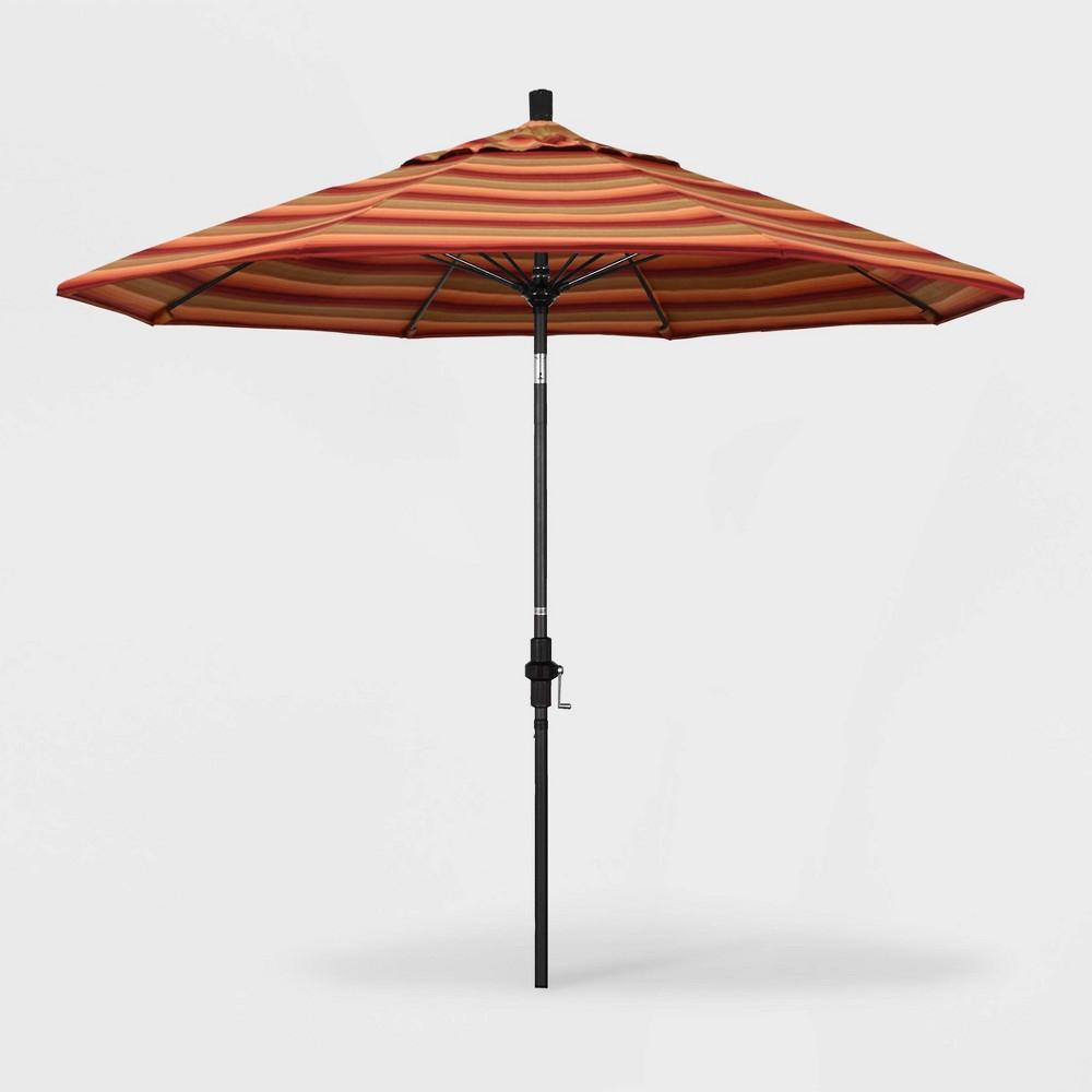 Image of 9' Sun Master Patio Umbrella Collar Tilt Crank Lift - Sunbrella Astoria Sunset - California Umbrella