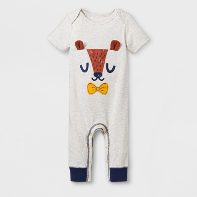 Baby Boys' Critter Face Short Sleeve Romper - Cat & Jack™ White <br>0-3M