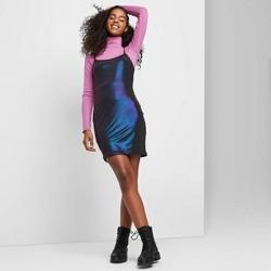 Women's Sleeveless Scoop Neck Iridescent Knit Mini Dress - Wild Fable™ Purple/Blue