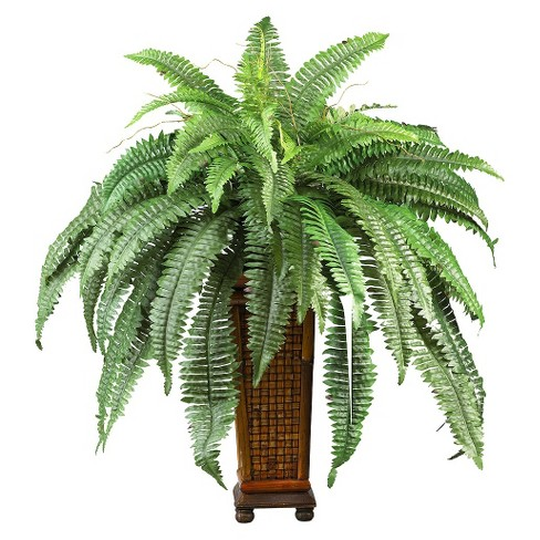 Nearly Natural Boston Fern w/Wood Vase Silk Plant - image 1 of 1