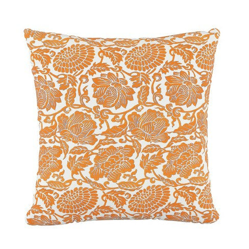 Floral Square Throw Pillow Orange - Skyline Furniture - image 1 of 4