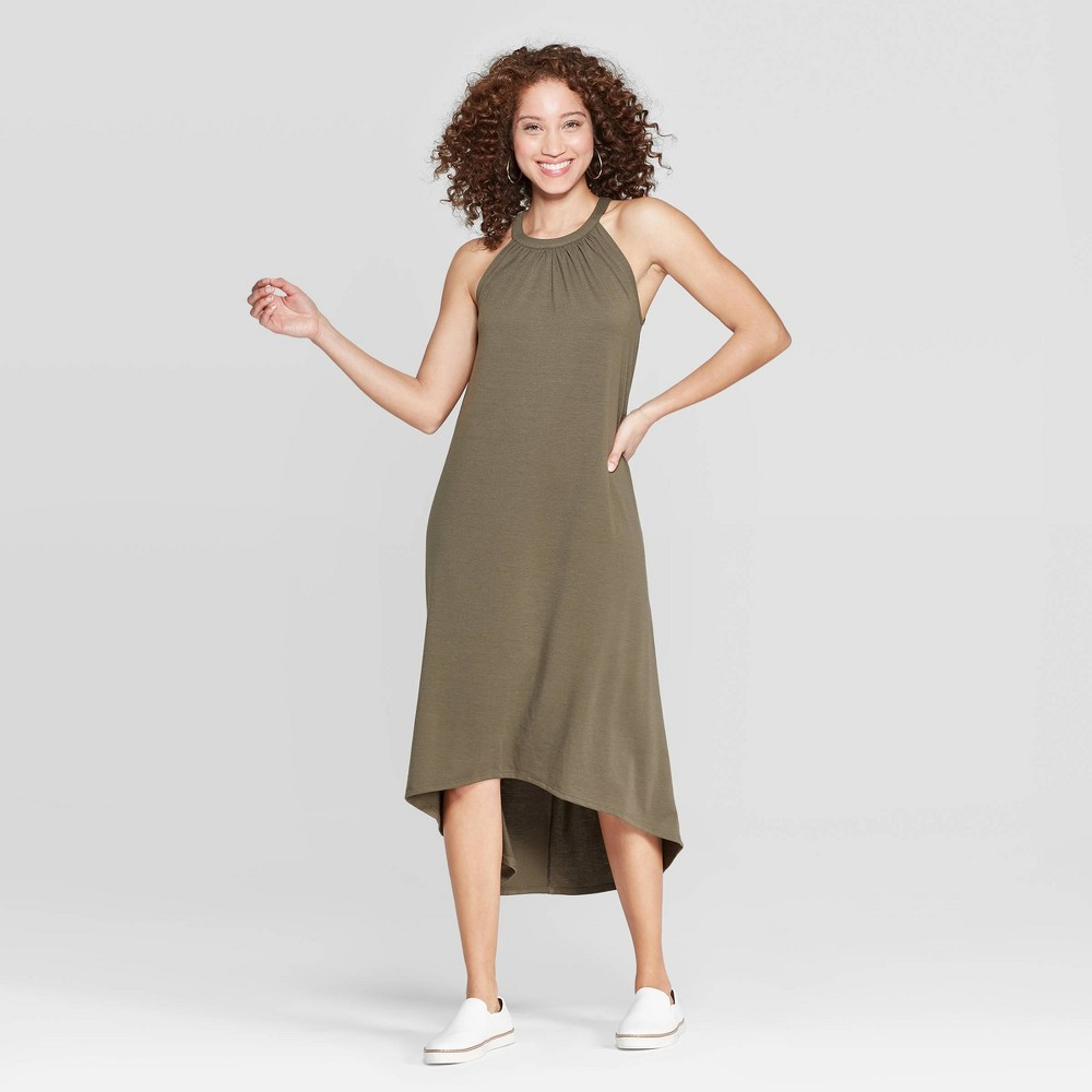 Women's Relaxed Fit Sleeveless Crewneck Maxi Dress - A New Day Olive (Green) XS