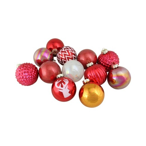 Northlight 12ct Multi Patterned Glass Ball Christmas Ornament Set 3 Red Gold