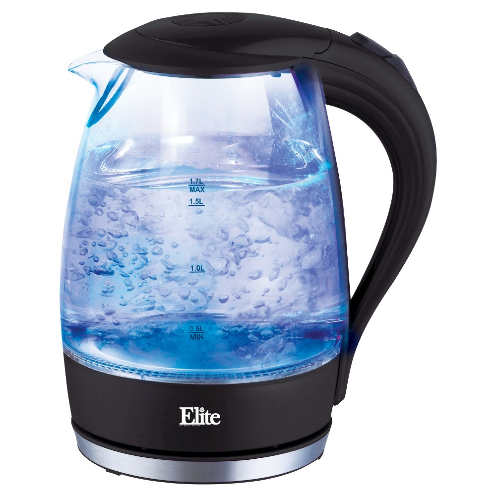 Elite Platinum 1.7 L. Cordless Glass Kettle – Black, Clear 49109959