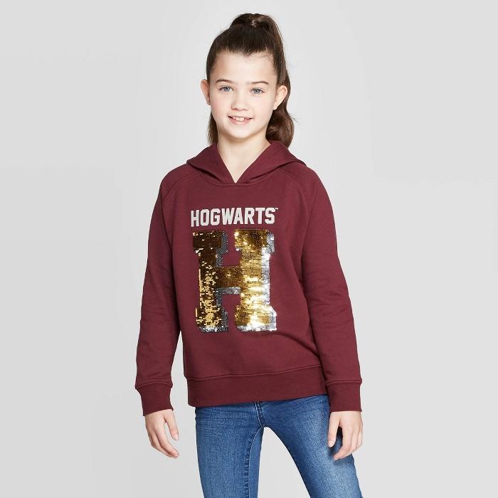 Girls' Harry Potter Hogwarts Flip Sequin Hoodie - Burgundy - image 1 of 4