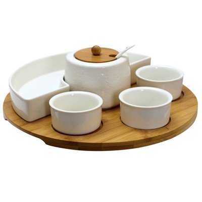 8pc Stoneware Party Serving Set White - Elama