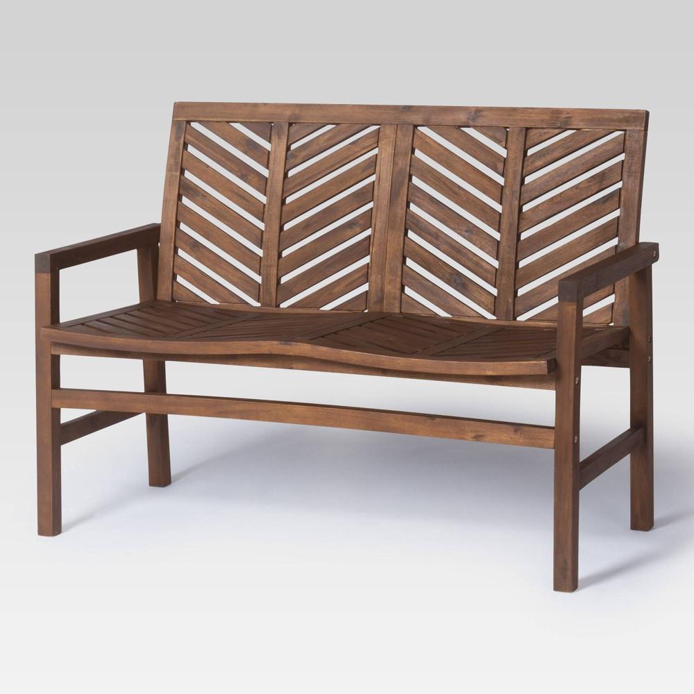 48 Wood Patio Love Seat Dark Brown Saracina Home