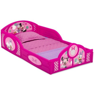 Disney Minnie Mouse Plastic Sleep and Play Toddler Bed with Attached Guardrails - Delta Children