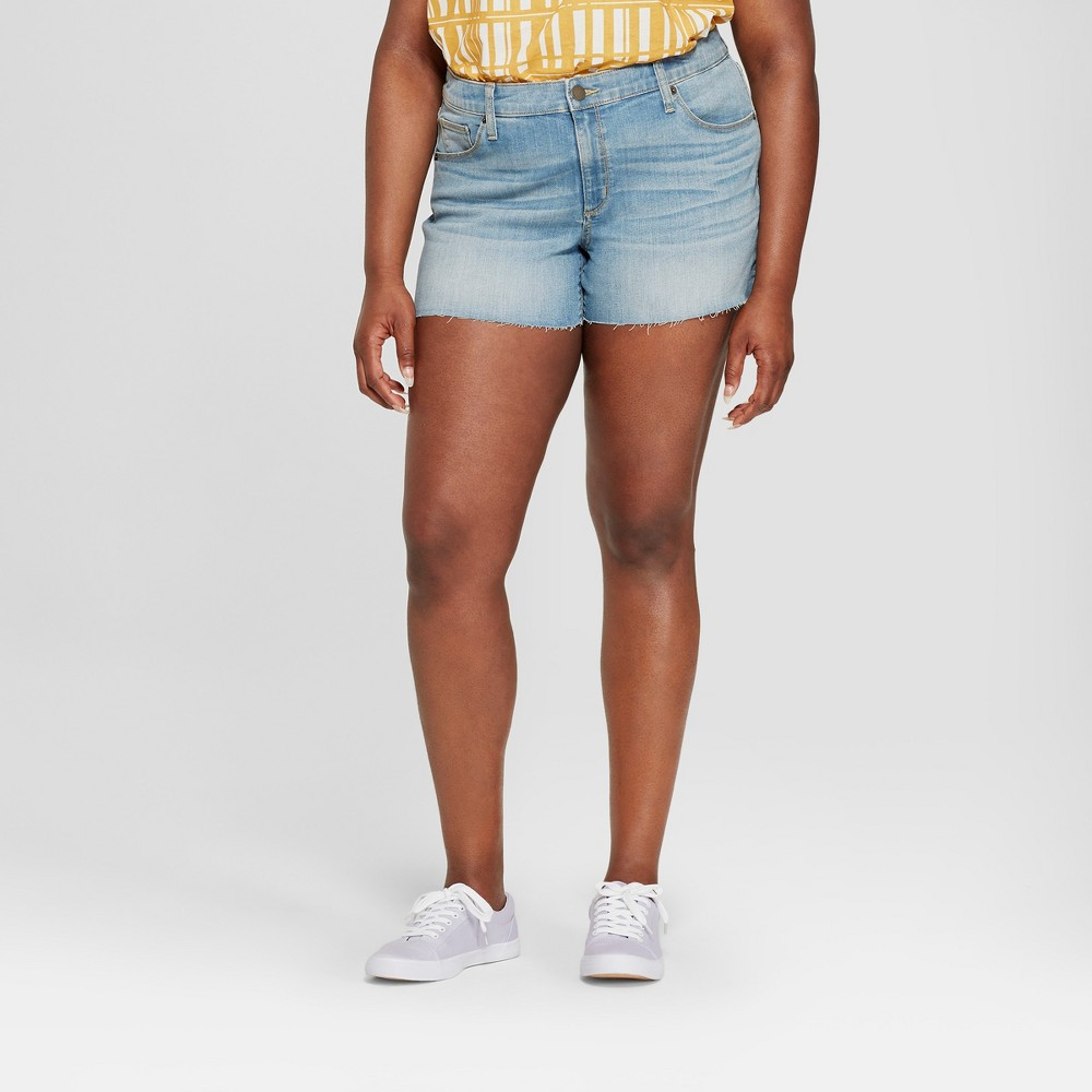 Women's Plus Size Raw Hem Midi Jean Shorts - Universal Thread Medium Wash 20W, Blue