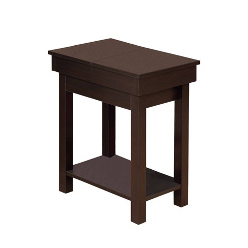 Wooden Chairside Table With Lower Shelf Brown - Benzara - image 1 of 4