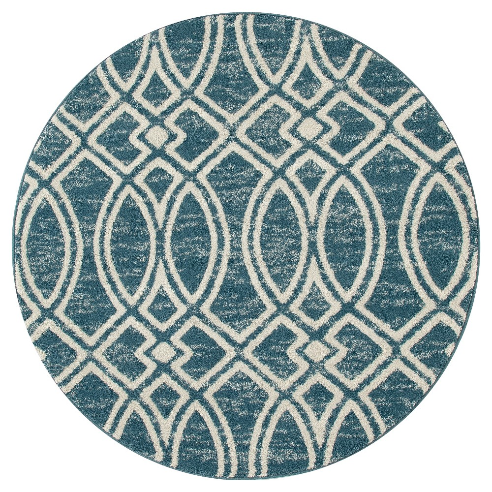 Image of Aqua (Blue) Abstract Woven Round Area Rug - (5') - Art Carpet