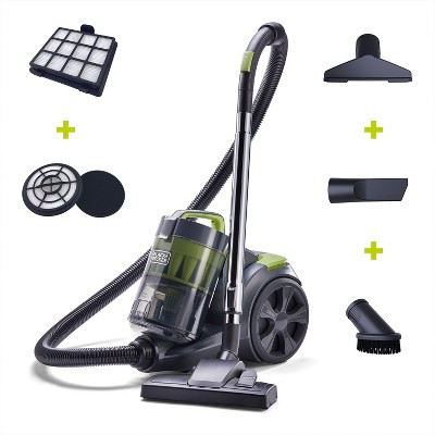 Black and Decker BDCAV217 1200 Amp Bagless Canister Vacuum Cleaner with HEPA Filter, 5 Foot Hose, and Multiple Attachment Heads, Gray
