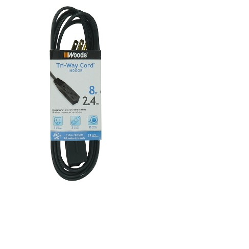 Woods 8' Grounded Extension Cord Black - image 1 of 4