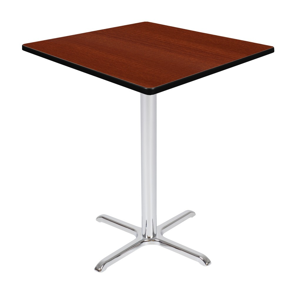 36 Via Cafe High Square X - Base Table Cherry/Chrome (Red/Grey) - Regency