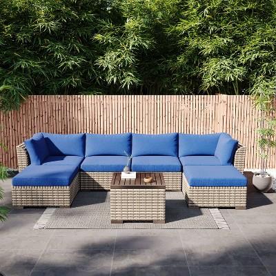 7pc Wicker Rattan Patio Set - Blue - Accent Furniture