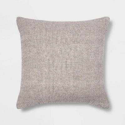 Square Woven Herringbone Pillow Gray - Threshold™