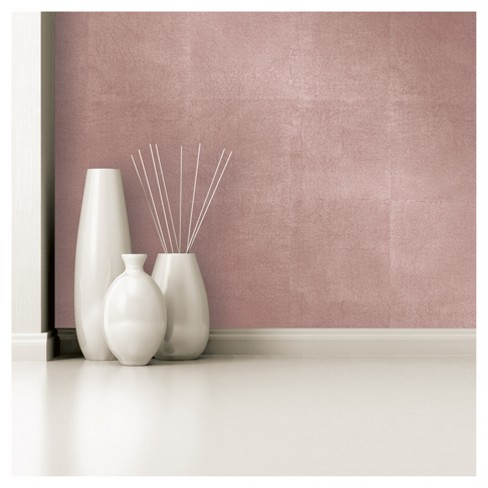 Devine Color Metallic Leaf Peel And Stick Wallpaper Rose Gold