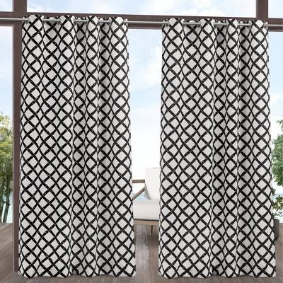 Set of 2 Bamboo Trellis Indoor/Outdoor Light Filtering Grommet Top Curtain Panel - Exclusive Home