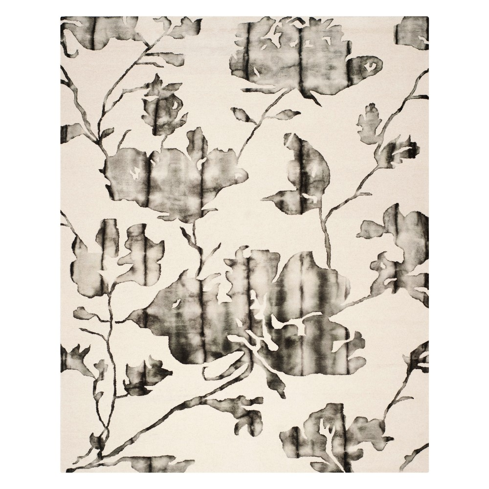10'X14' Floral Area Rug Ivory/Charcoal (Ivory/Grey) - Safavieh