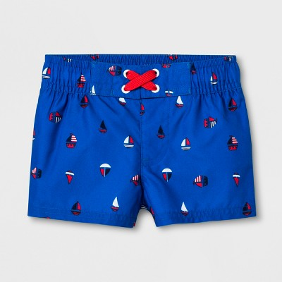 Baby Boys' Sailboat Swim Trunks - Cat & Jack™ Blue 9-12M