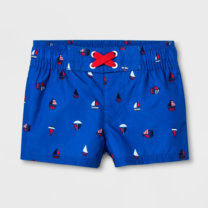 Baby Boys' Sailboat Swim Trunks - Cat & Jack™ Blue - image 1 of 1