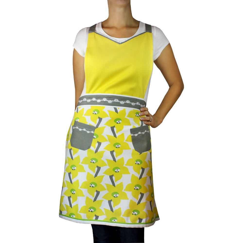 Sunshine V-Neck Apron Yellow - Mu Kitchen, Cockatoo Orange