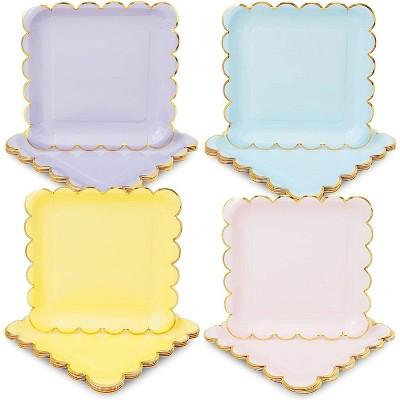 """Sparkle and Bash 48-Pack Pastel Gold Square Disposable Paper Dinner Plates Scalloped Edge, Party Supplies 9"""""""