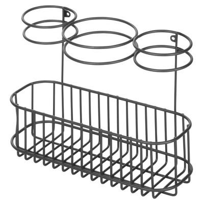 mDesign Metal Wall Mount Hair Care & Styling Tool Storage Basket