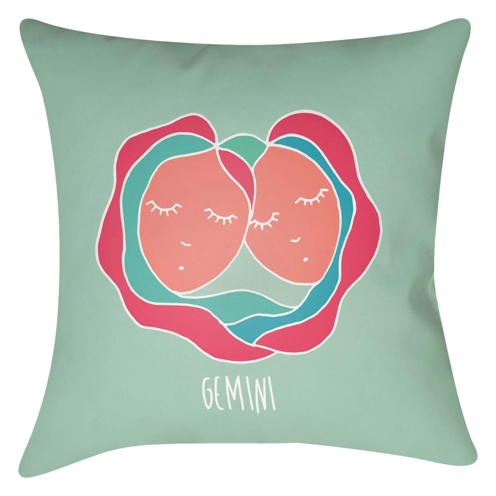 Hot Pink Zodiac Gemini Throw Pillow 18