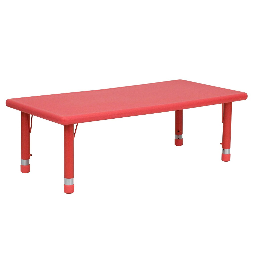 Image of Flash Furniture Rectangular Activity Table Red - Belnick