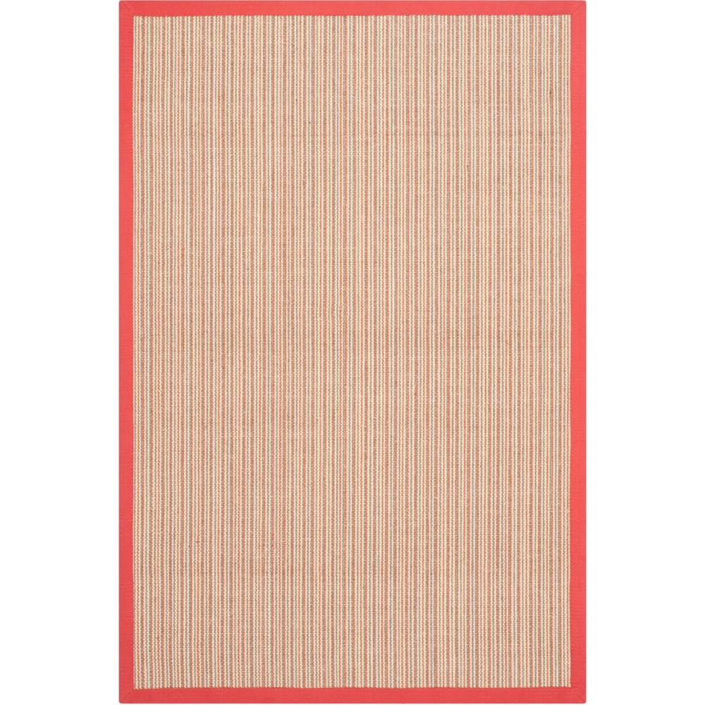 4'X6' Stripe Loomed Area Rug Rust (Red) - Safavieh