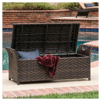 Delicieux Wing Wicker Patio Storage Bench   Multi Brown   Christopher Knight Home