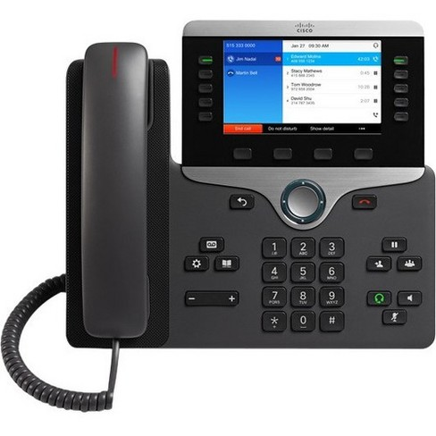 Cisco 8851 IP Phone - Cable - Wall Mountable - VoIP - Caller ID - Speakerphone - 2 x Network (RJ-45) - USB - PoE Ports - (No license included) - image 1 of 1