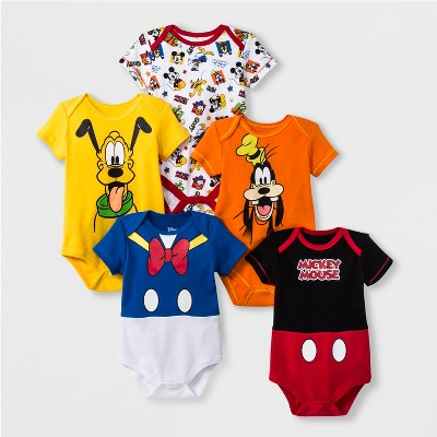 Baby Boys' 5pk Disney Mickey Mouse & Friends Short Sleeve Bodysuit - 6-9M
