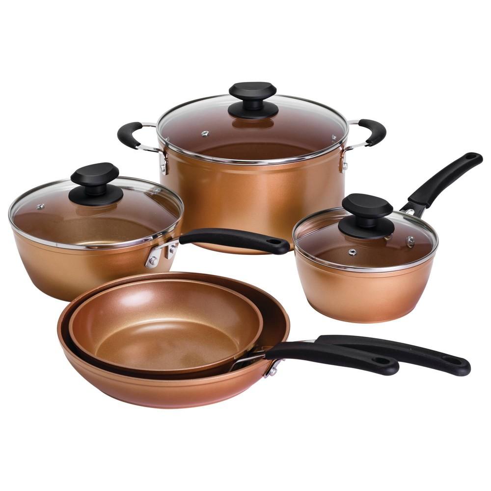 Image of Ecolution 8pc Endure Titanium Guard Cookware Set, Brown