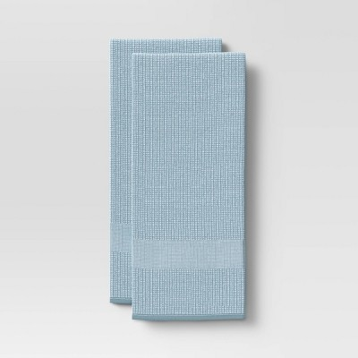 2pk Cotton Waffle Terry Kitchen Towels Blue - Threshold™