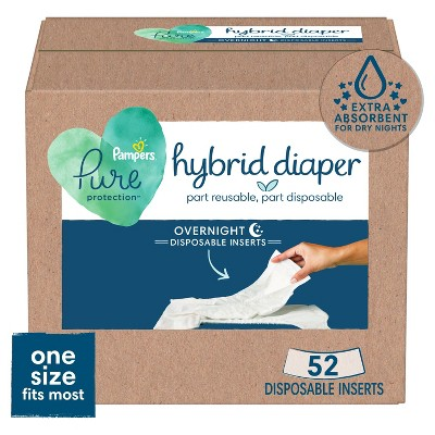 Pampers Pure Hybrid Nighttime Diaper Inserts - One Size - 52ct
