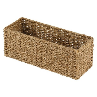 mDesign Natural Woven Bathroom Storage Organizer Basket