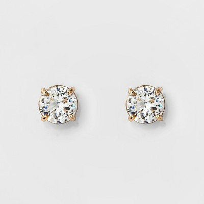 Women's Round Crystal Stud Earring - A New Day™ Gold
