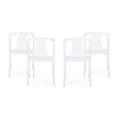 Orchid 4pk Resin Stacking Dining Chair - White - Christopher Knight Home