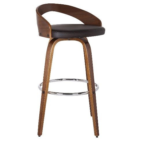 Sonia Counter Height Barstool Faux Leather Brown - Armen Living - image 1 of 4