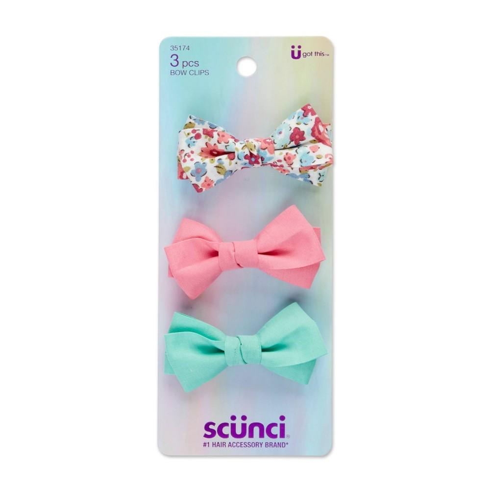 Scunci Kids Bow Clips Floral Pastels 3pk