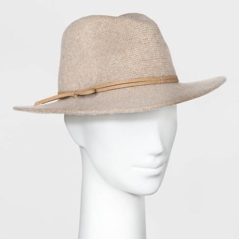 Women's Knit Felt Fedora Hat - Universal Thread™ Cream One Size - image 1 of 1