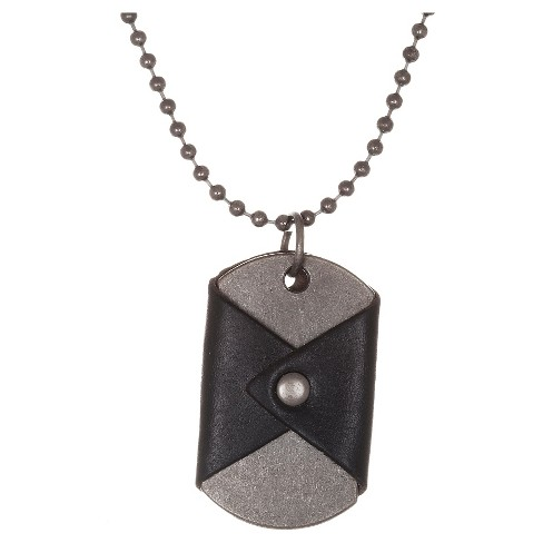"Men's Stainless Steel Oxidized Wrapped Leather Dog Tag 26"" Necklace - image 1 of 1"